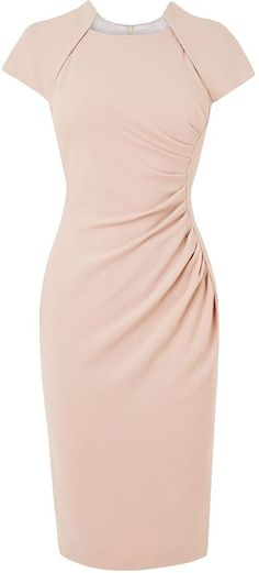 L.K. Bennett Marina fitted dress.  Peachy pink fitted dress with ruching/gathering at the hip, a square neckline and cap sleeves.