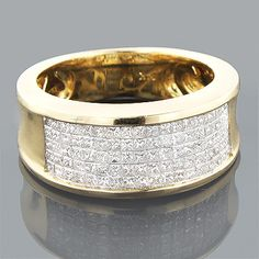 This dazzling 14K Gold Princess Cut Diamond Mens Wedding Ring weighs approximately 7 grams and showcases 1.50 ctw of sparkling invisibly set diamonds. Featuring a simple yet luxurious design and a highly polished gold finish, this fantastic men's diamond band from our designer diamond rings collection is available in 14K white, yellow and rose gold.