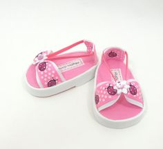 """18"""" doll sandals for American Girl dolls pink ladybugs"""
