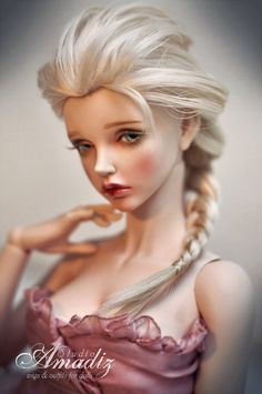 "Cosplay Elsa (""Frozen"") natural angora wig for BJD"