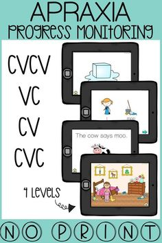 This apraxia of speech tool is perfect for progress monitoring, screening, quick drill therapy, and more! It covers the following syllable shapes: CVCV, VC, CV, and CVC in the words, phrases, sentences, and picture level. This no print tool requires absolutely zero printing and includes editable PDF data sheets. Click for more info.