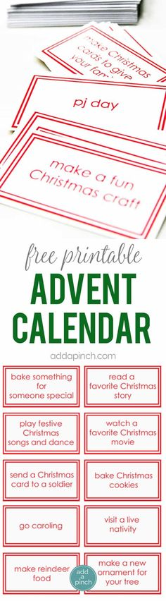 Free Printable Advent Calendar Cards - This Children's Advent Calendar Printable adds a bit of fun and memorable traditions to your Christmas. 30 children's advent calendar ideas and cards. // addapinch.com
