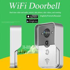 WiFi Wireless Video Door Phone intercom Doorbell Peehole Camera Remote Unlock IR Night Vision Alarm Android IOS smart home russi