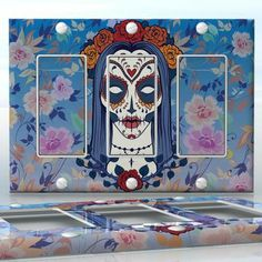 DIY Do It Yourself Home Decor - Easy to apply wall plate wraps | Sugar Skull Girl #2 Blue hair sugar skull girl and flowers wallplate skin sticker for 3 Gang Decora LightSwitch | On SALE now only $5.95