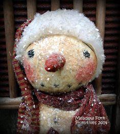 Primitive Folk Art Sparkle Snowman DollMica by MeadowForkPrims