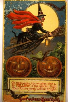 Witch Rides Broom & Two Pumpkins | Halloween Postcard, circa 1910.