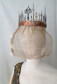 "Close up of ""Time to Wed"" veil, by Ruth Buffington & Jim Bremmer, part of Brassy Brides: Steampunk Wedding"