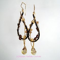 Eris Alba Earrings with citrine, zirconia, Czech crystal, handforged enameled bronze and 14k Gold Fill.