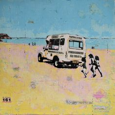 Tenby Ice Cream Van, Wales Ice Cream Van, Canvas Board, Silk Screen Printing, Mixed Media Art, Wales, San, Fine Art, Artist, Artwork