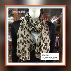 """Cheetah chiffon scarf Beautiful chiffon scarf with cheetah mark printed light brown and black brand new never been wear size 28"""" x 62"""" Accessories Scarves & Wraps"""