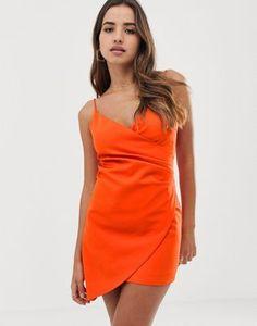 136bd7386dd46 Club L London mini asymmetric cami strap mini dress in orange