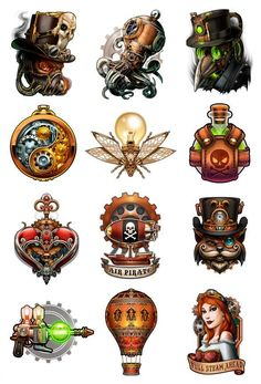 Steampunk Temporary Tattoo Set | Tatt Me Temporary Tattoos
