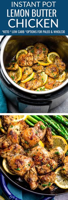 Instant Pot Lemon Butter Chicken - the perfect low carb & keto friendly meal for spring. Best of all, this recipe is super simple and easy to customize with Paleo or Whole30 swaps. The chicken cooks up tender, juicy and full of flavor with instructions for the pressure cooker and stovetop. Serve with roasted asparagus, broccoli, zucchini, green beans, cauliflower or your favorite vegetable. Great for meal prep Sunday to make ahead for work or school lunchboxes & lunchbowls. #keto #instantpot