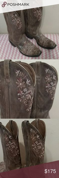 "Ariat embroidered boots Femininity in a cowboy boot. Lovely colors in embroidered flowers. Square toe. Like new. Worn twice. Bit loose on my feet. Very pretty boot. 1.5"" total heel height Ariat Shoes Heeled Boots"