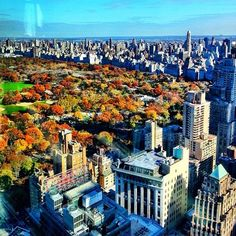 on top of the world with amazing views looking at central park. #autumn