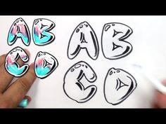Graffiti Letters Alphabet - Bubble Letters Alphabet A B C D
