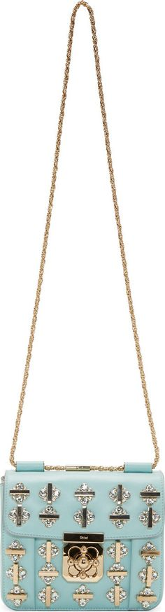 Chloé Turquoise Embellished Elsie Small Shoulder Bag | cynthia reccord