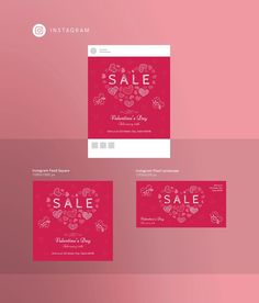 Ready-to-use Social Media #Templates for Instagram | Valentine's Day. Valentines design for your #social media! Valentines day sale,  valentines day promotion.