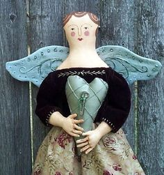 Vintage-style Folk Angel pattern by Annie Beez on etsy_I just bought this one! Doll Clothes Patterns, Doll Patterns, Pdf Patterns, Paper Dolls, Art Dolls, Feather Stitch, Fabric Animals, Heart Pillow, Doll Maker