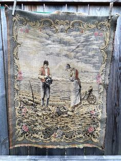 "Vintage Tapestry The Angelus Jean Francois Millet Woven Wall Hanging 33"" x 24"" 