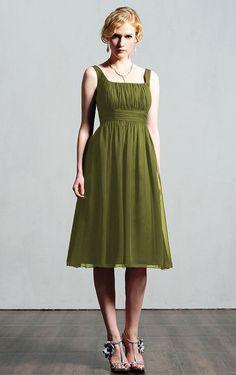 Modest Straps Sleeveless Knee-length Chiffon A-line Bridesmaid Dresses