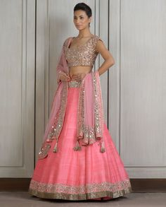 Pink Lengha Set with Mirror Work Manish Malhotra