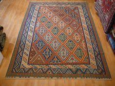 12438 Persian Kilim Kashkuli rug 9.6 x 6.8 ft