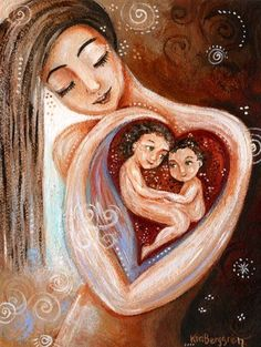Mom holding two children in her heart, long hair mom, loving artwork, child loss print - Twenty-Four-Seven Mother Daughter Art, Mother Art, Mother And Child, Child Loss, Baby Art, Painting For Kids, Stretched Canvas Prints, Framed Artwork, Original Paintings