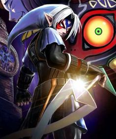 The Legend of Zelda: Majora's Mask / Fierce Deity Link and The Happy Mask Salesman / 「鬼神リンク」/「せい」のイラスト [pixiv] The Legend Of Zelda, Legend Of Zelda Breath, Twilight Princess, Breath Of The Wild, Video Game Art, Video Games, Creepypasta, Majora Mask, Image Zelda