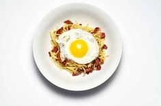 How To Make Spaghetti With Bacon, Pecorino, And Fried Egg Fry bacon Pour out some grease Put cooked parts in skipper with grease Add pec. Toss to coat Serve w/bacon crumbles and fried egg on top