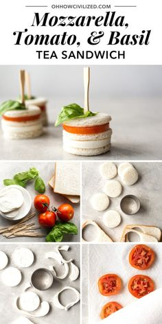 Dec 2019 - A tasty (and adorable) tea sandwich made with mozzarella cheese, cocktail tomato slices, and basil on white bread. Perfect for tea time or for parties as appetizers. Sandwich Bar, High Tea Sandwiches, Tee Sandwiches, Finger Sandwiches, Appetizer Sandwiches, Afternoon Tea Recipes, Afternoon Tea Parties, Appetizers For Party, Appetizer Recipes