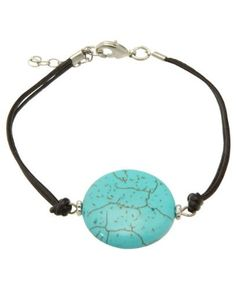 Turquoise Stone Disc and Leather Cord Bracelet Cultural Elements. $21.99. Stone Size: about 1 inch in diameter. Length: 8 inches with 1 inch extender. Handmade leather cord bracelet. Made in USA with imported stones. Stone: Turquoise