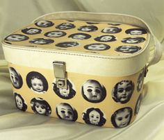 Vintage vanity case decoupaged in Doll Face fabric by LoveKittyPink