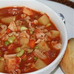 Manhattan Style Clam Chowder...with some added in Old Bay seasoning since I am from the East Coast!