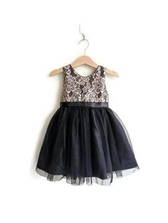 Flower girls dress black and gold lace tutu dress formal