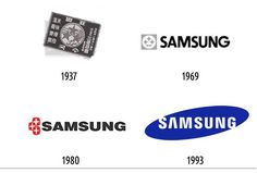 Samsung started out as a noodle shop, so its first logo looks a bit non-techie, but it eventually switched to its famous blue logo in 1993.