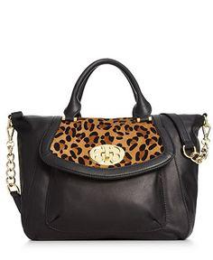 Emma Fox Handbag, Saranac Leopard Haircalf Satchel - Handbags & Accessories - Macy's
