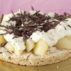 Typical modern style Norwegian cake - almond nut cake with pears, whipped cream and grated chocolate. Norwegian Food, Norwegian Recipes, Almond Nut, Pudding Desserts, Holiday Traditions, Tex Mex, Chocolate, Snacks, Let Them Eat Cake