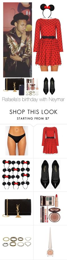 """Rafaella's birthday with Neymar"" by famouslife13 ❤ liked on Polyvore featuring Pour Moi?, Yves Saint Laurent, Charlotte Tilbury, Christian Louboutin, Tory Burch, birthday, outfit, neymar and neymarjr"