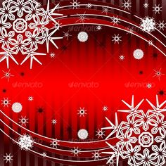 vector illustration of a redstriped Christmas Background with the snowflakes