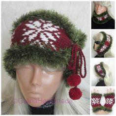 Santa Wide Headband Hand Knitted Red White Green by GalinaHandmade