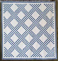 Gorgeous Densely Quilted Indigo Blue White Antique c1880 Quilt   Vintageblessings