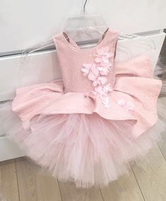 Blush pink french lace soft tulle flower girl dress with chiffon flowers appliques baby birthday gown toddler tea party outfit Baby Girl Party Dresses, Little Girl Dresses, Girls Dresses, Flower Girl Dresses, Anna Lu, Blush Pink Dresses, Baby Dress Patterns, Kids Frocks, Cute Dresses