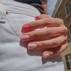 Hair And Nails, My Nails, How To Gel Nails, Manicure For Short Nails, Pink Shellac Nails, Cute Gel Nails, Pale Pink Nails, Zebra Nails, Gel Nails At Home
