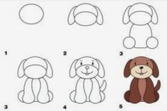Drawing a dog to show children how to use shapes.
