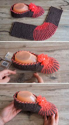 Easy Slippers I wonder if this can be done in crochet? Easy Slippers I wonder if this can be done in crochet? Knitting Kits, Loom Knitting, Knitting Socks, Knitting Patterns Free, Free Knitting, Baby Knitting, Crochet Patterns, Crochet Ideas, Knit Slippers Free Pattern