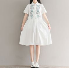 99198db3b0d EMBROIDERED LAPEL SHORT SLEEVES LOOSE LARGE SIZE COTTON AND LINEN DRESS