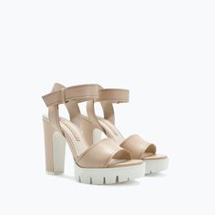ZARA - COLLECTION AW14 - LEATHER SANDAL WITH TRACK HEEL