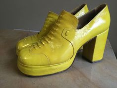 Women's Vintage 70's Platform SHOES Yellow Patent Leather 7 1/2  #unknown #PlatformsWedges #Casual