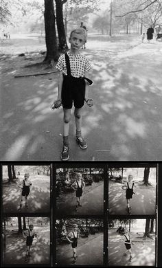Dianne Arbus - Child with a Toy Hand Grenade in Central Park (1962). Plus part of contact sheet from which this photo was selected